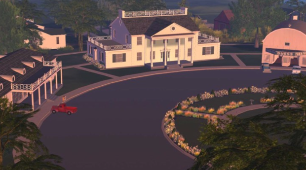 The administration building and theatre in Second Life (ASU Dyess sim)